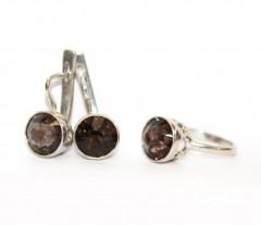 Комплект: серьги и кольцо с раухтопазами